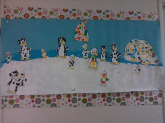 Fresque de pingouins sur la banquise