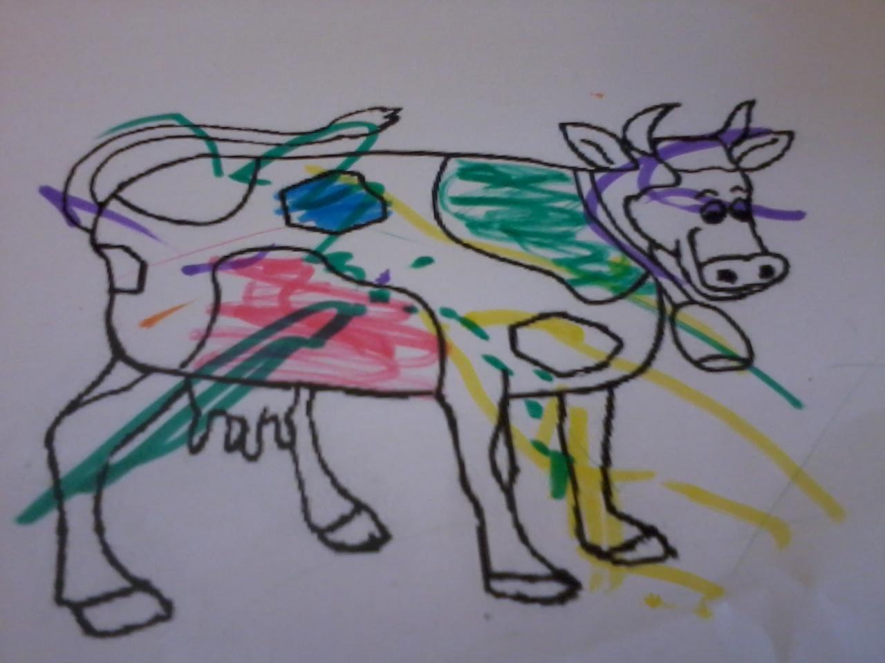Orion à la ferme - coloriage d'une vache