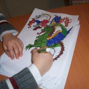 Coloriage : dragon à 7 têtes